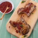 Brined_Pork_Chops_Rhubarb_Fig_Compote_Cabernet_Balsamic_Wine4Food