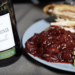 Spiced Gewürztraminer Cranberry Sauce Plate and Wine Bottle