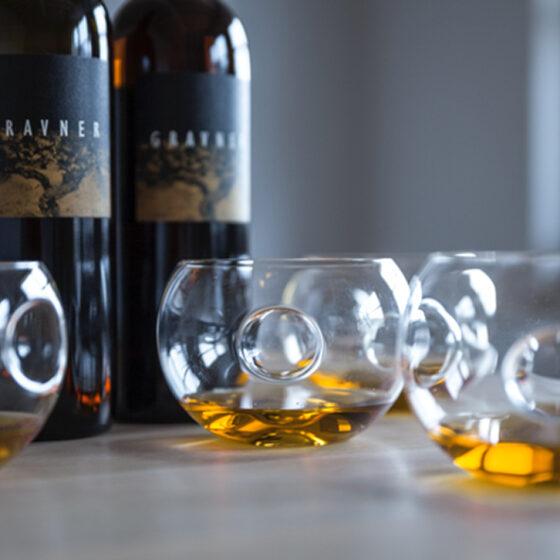 Orange Wines, gravner-amber wine in glasses - Wine4Food
